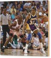 Magic Johnson and Michael Jordan Wood Print