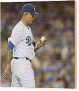 Miami Marlins v Los Angeles Dodgers Wood Print