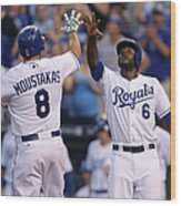 Mike Moustakas and Lorenzo Cain Wood Print