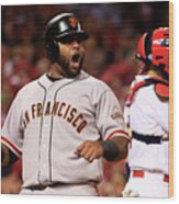 Pablo Sandoval, Yadier Molina, and Hunter Pence Wood Print