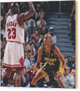 Reggie Miller and Michael Jordan Wood Print