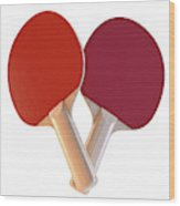 Set Of Table Tennis Paddles Wood Print