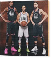 Stephen Curry, Kevin Durant, and Klay Thompson Wood Print