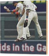 Torii Hunter, Aaron Hicks, and Eddie Rosario Wood Print