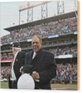 Willie Mays and Gaylord Perry Wood Print
