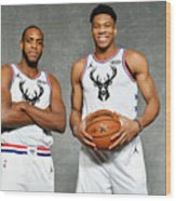 Giannis Antetokounmpo and Khris Middleton Wood Print