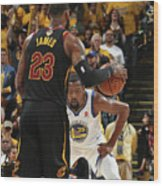 Kevin Durant and Lebron James Wood Print
