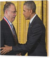 President Obama Awards National Medals Of Science And Nat'l Medals Of Technology And Innovation Wood Print