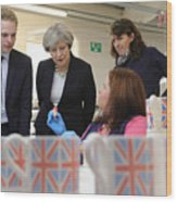 Theresa May Visits Stoke-On-Trent Central Ahead Of Thursday's By-election Wood Print