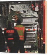 Lorry Drives Through Christmas Market In Berlin Wood Print