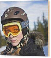 A girl wearing ski goggles Sweden. Wood Print
