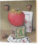 A is for Apple Acorns and Aces Wood Print