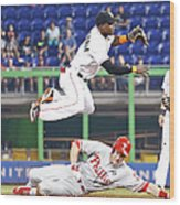 Adeiny Hechavarria and Chase Utley Wood Print