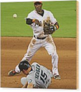 Adeiny Hechavarria And Kyle Seager Wood Print