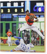 Adeiny Hechavarria and Matt Kemp Wood Print