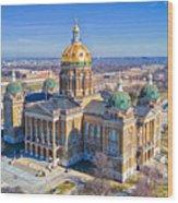 Aerial Of Iowa Capital March 4 2017 Wood Print