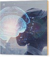AI (Artificial Intelligence) concept. Education concept. Wood Print