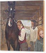 Aisle Hug Horse Show Barn Candid Moment  Wood Print
