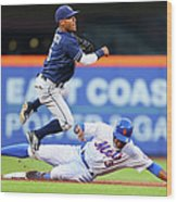 Alexi Amarista and Curtis Granderson Wood Print