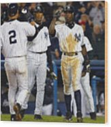 Alfonso Soriano, Derek Jeter, And Bernie Williams Wood Print