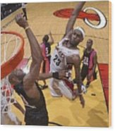 Alonzo Mourning and Lebron James Wood Print