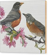 American Robins State Bird Original Wildlife Watercolor Wood Print
