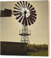 American-style windmill in backlight Wood Print