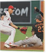 Andrelton Simmons And Jace Peterson Wood Print