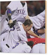Andres Blanco, Josh Hamilton, and David Murphy Wood Print