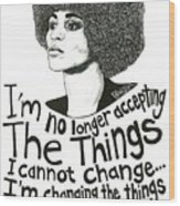 Angela Davis Drawing Wood Print