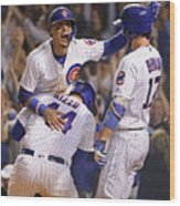 Anthony Rizzo, Kris Bryant, And Javier Baez Wood Print