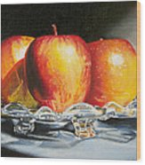 still life oil painting art print for sale Apples Wood Print