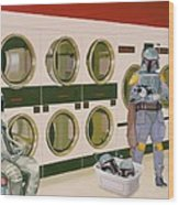 At the Laundromat with Boba Fett Wood Print