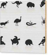 Australian animal icons Wood Print