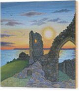 Autumn Sunset Over Hastings Castle Wood Print