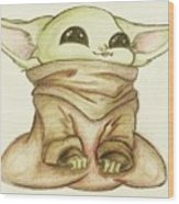 Baby Yoda Wood Print
