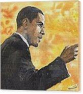 Barack Obama 02 Wood Print