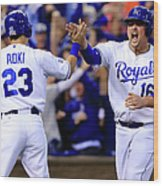 Billy Butler and Alcides Escobar Wood Print