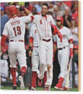 Billy Hamilton and Joey Votto Wood Print