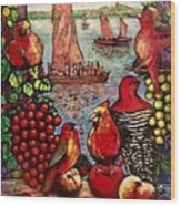 Birds and immigrants in red Wood Print