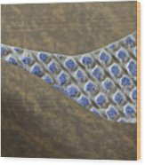 Blue Pattern on Brown Background Wood Print