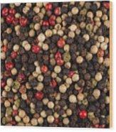 Bowl Of Various Pepper Peppercorns Seeds Mix On Dark Stone Wood Print