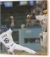 Brandon Crawford and Andre Ethier Wood Print