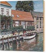 Bruges Boat in Belgium Wood Print