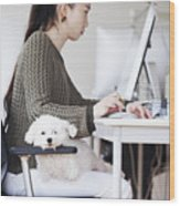 Business Woman Working At Office With Dog Wood Print