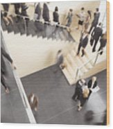 Businesspeople Walking In Busy Office Building Wood Print