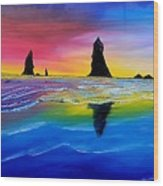 Cannon Beach Red Sunset #1 Wood Print