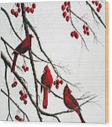 Cardinals And Crabapples Wood Print