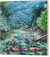 Caribbean Wash Day Wood Print