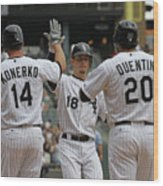 Carlos Quentin, Brent Lillibridge, and Paul Konerko Wood Print